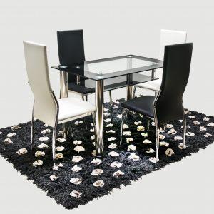 comedor-vidrio-doble-negro-sillas-cuero-blanco-y-negro