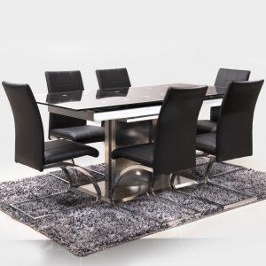 Comedor-vidrio-negro-pata-metal-sillas-cuero-negras-mesa-comedor-monaco