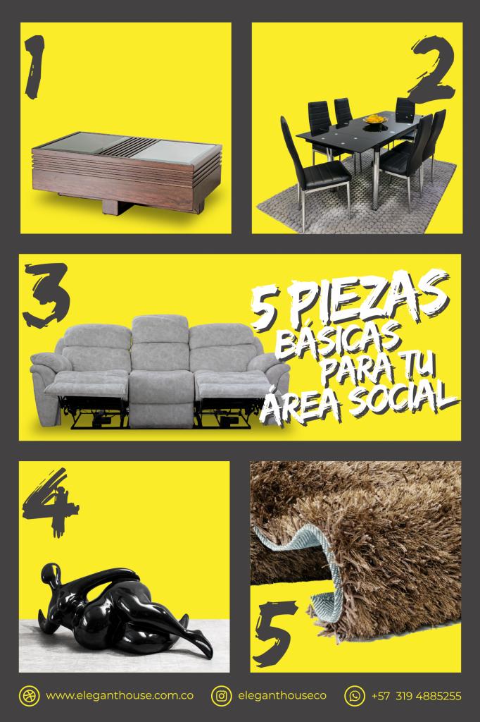 cinco piezas básicas para tu área social